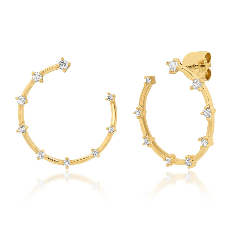 SMALL STUDDED HOOPS, GOLD