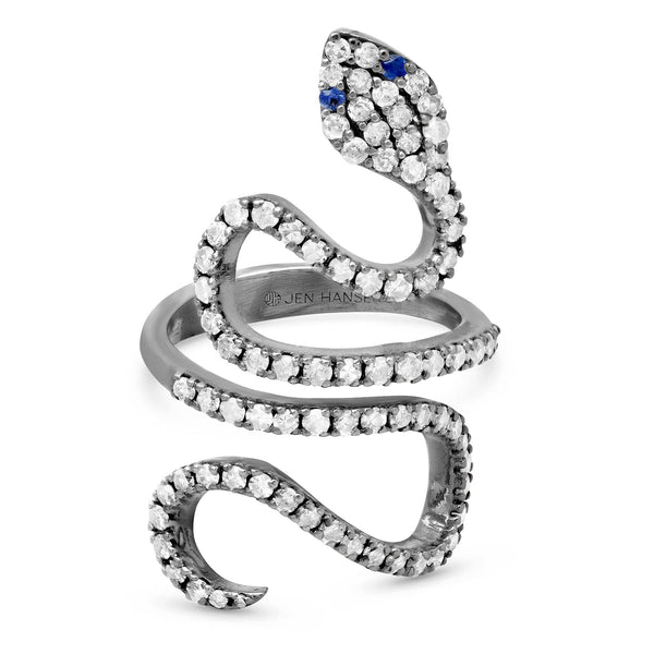 SNAKE DIAMOND RING, BR STERLING SILVER