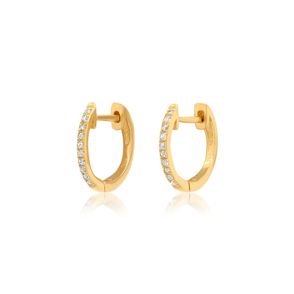 SNUG DIAMOND HOOPS, GOLD