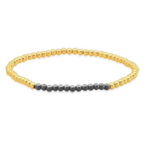 STRETCH BRACELET, GOLD & BLACK