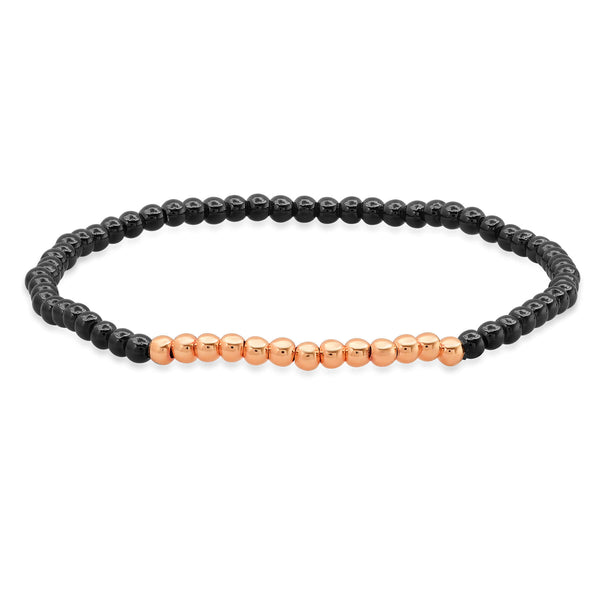 STRETCH BRACELET, BLACK & ROSE GOLD