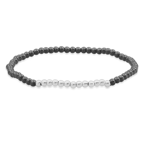 STRETCH BRACELET, BLACK & SILVER
