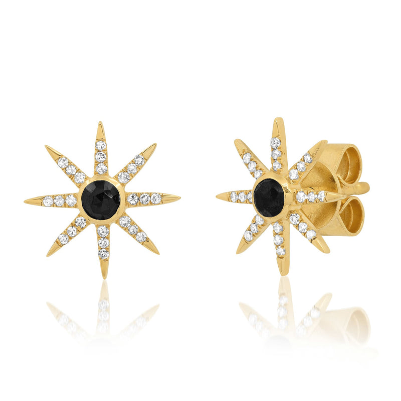 SUNBURST STUD EARRINGS, BLACK SPINEL