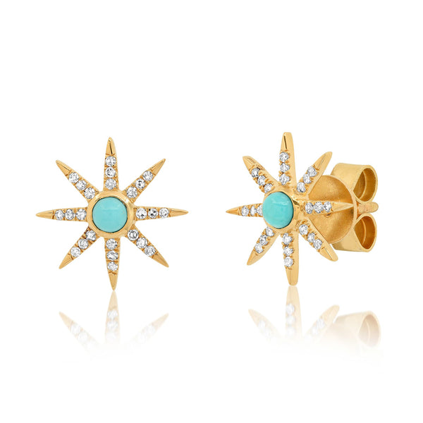 SUNBURST STUD EARRINGS, TURQUOISE
