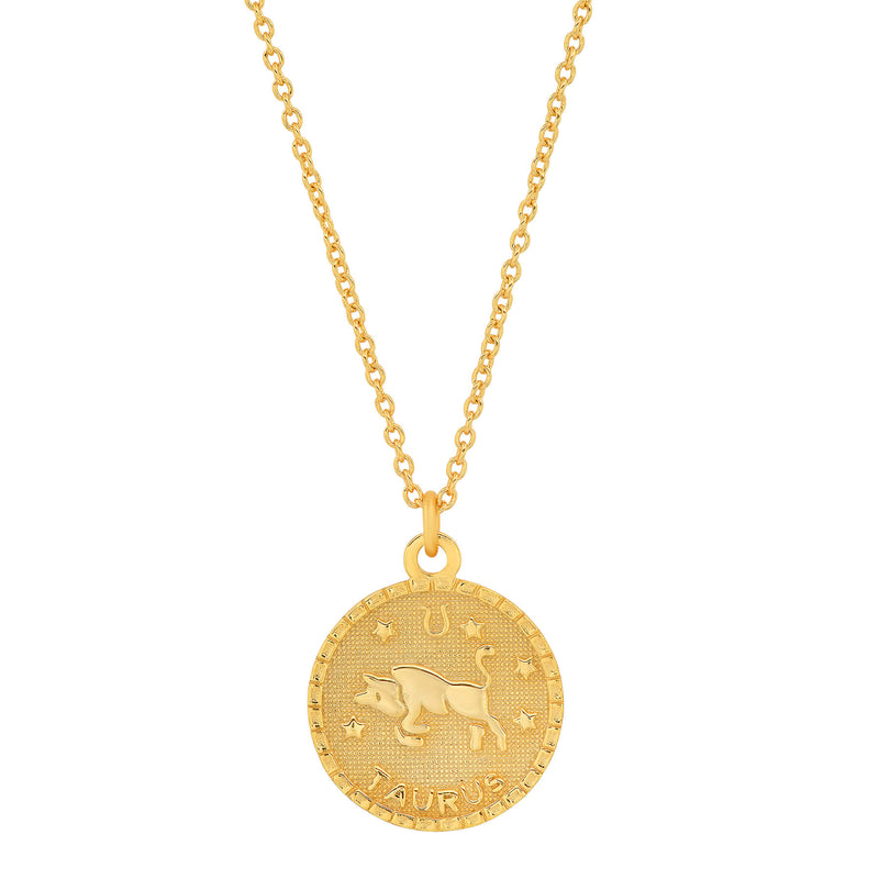 TAURUS DISC NECKLACE, GOLD
