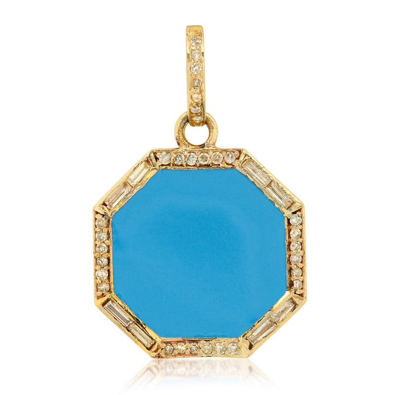 TINY TURQUOISE DEFEND CHARM, GOLD