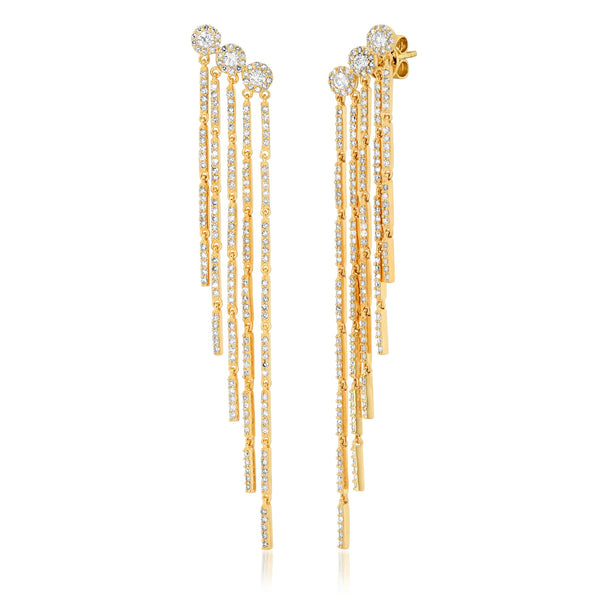 TRIO DIAMOND CASCADE EARRINGS, GOLD