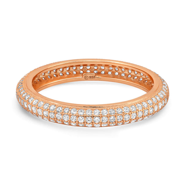 TRIPLE ROW PAVE ETERNITY RING, ROSE GOLD