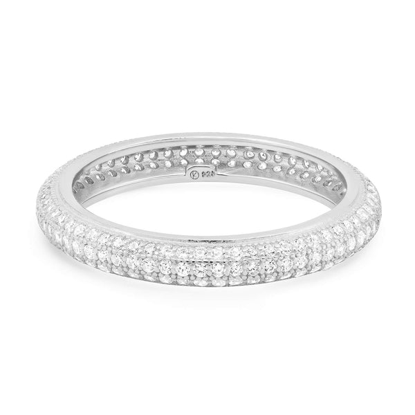 TRIPLE ROW PAVE ETERNITY RING, SILVER