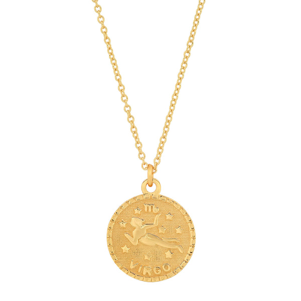 VIRGO DISC NECKLACE, GOLD