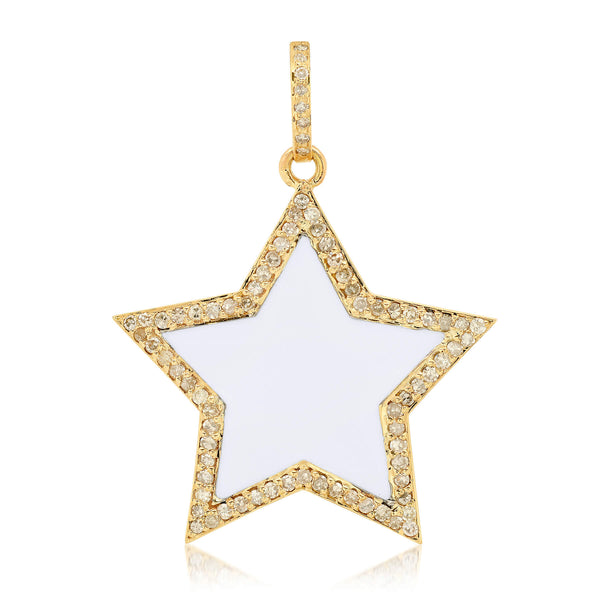 WHITE ENAMEL STAR CHARM, GOLD
