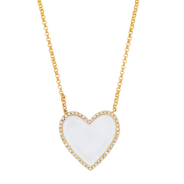 WHITE VALENTINE NECKLACE, GOLD
