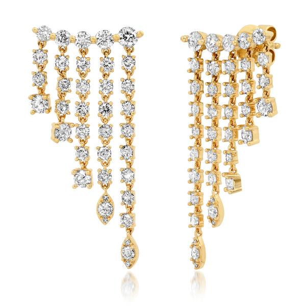 WIDE CASCADE DIAMOND EARRINGS, GOLD