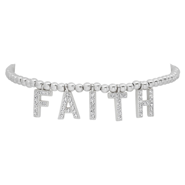 FAITH STRETCH BRACELET, SILVER