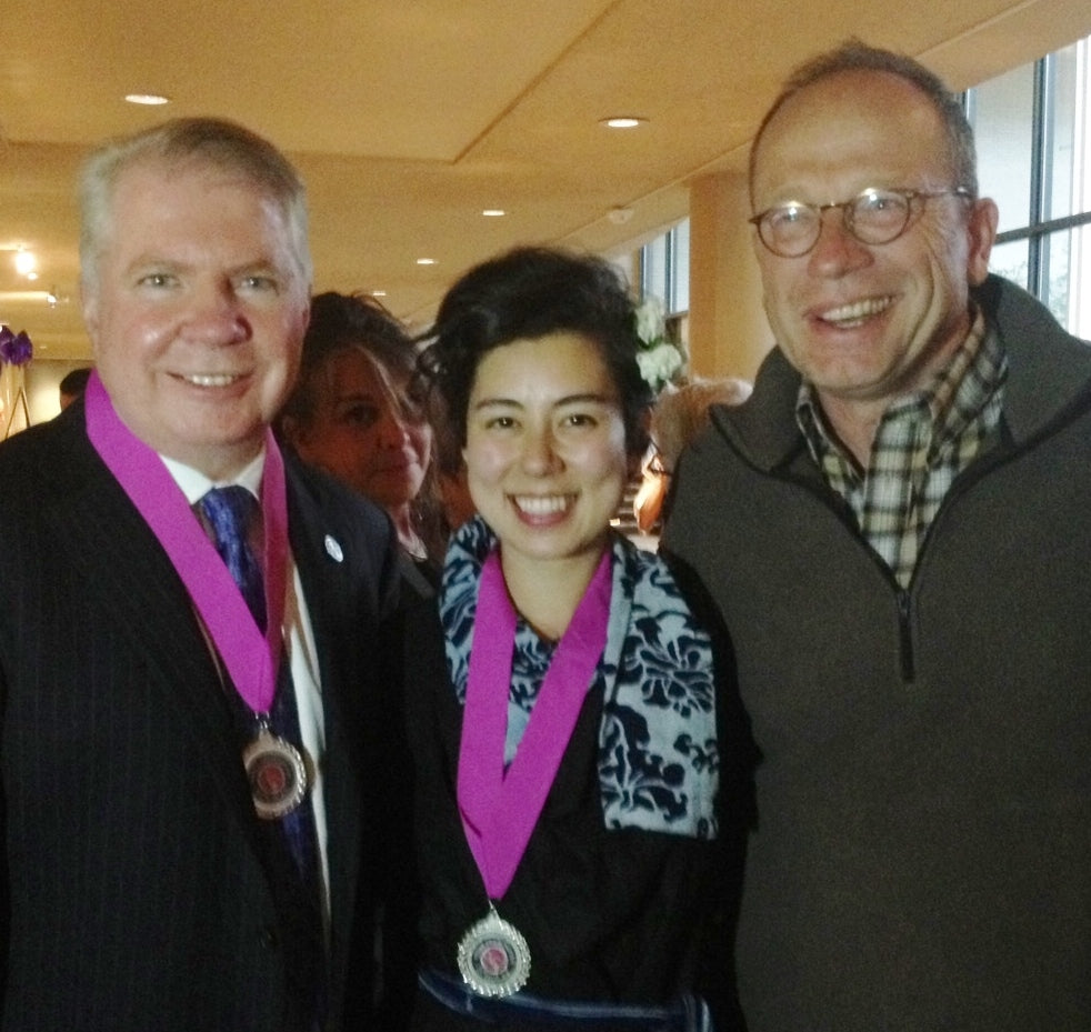 Mayor Ed Murray with Soaring Heart Natural Bed Co. President, Mike Schaefer and Soaring Heart Scholarship winner, April Nishimura.