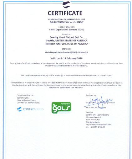 Global Organic Latex Standard Certificate