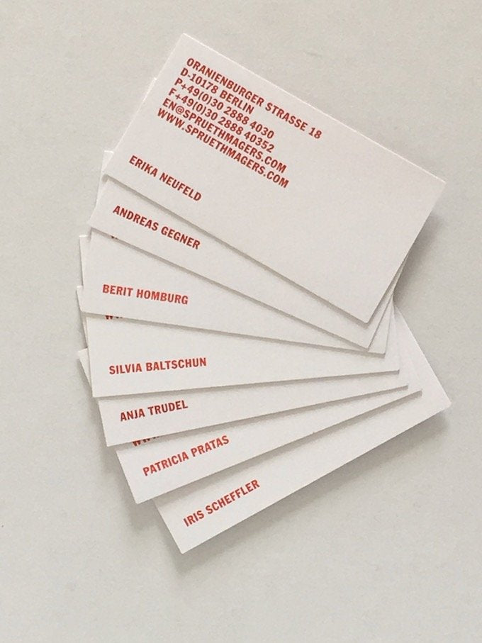 Spruth Magers Gallery, Berlin and London, 2015 - 7 business cards