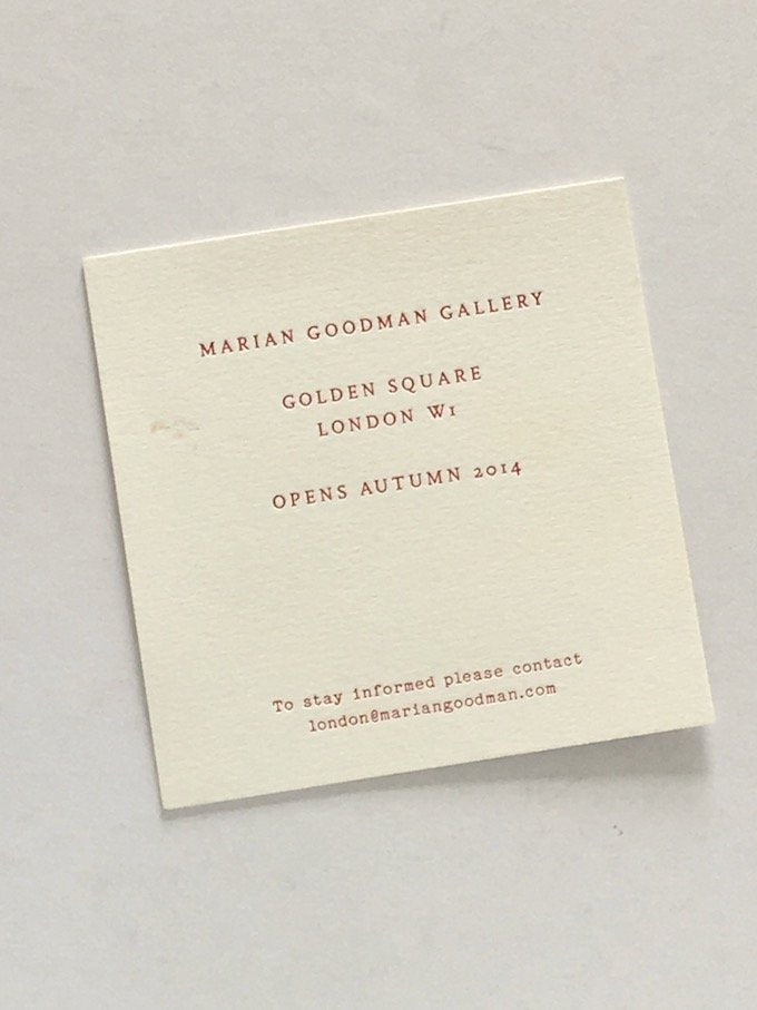 Marian Goodman Gallery 2014 - Gallery card