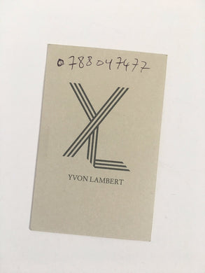 Business card for Christophe Wiesner at Yvon Lambert Gallery, Paris -  RARE
