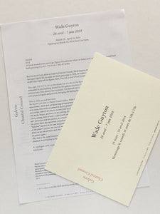 Card and press release from Wade Guyton at Chantal Crousel, Paris 2008