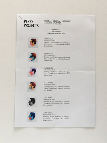 Alex Israel exhibition at Peres Projects, Paris 2013 - Check List of works