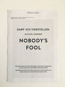 Essay by Michael Krebber - Darf Ich Vorstellen: Nobody's Fool, published in Freize Magazine - Printed pdf