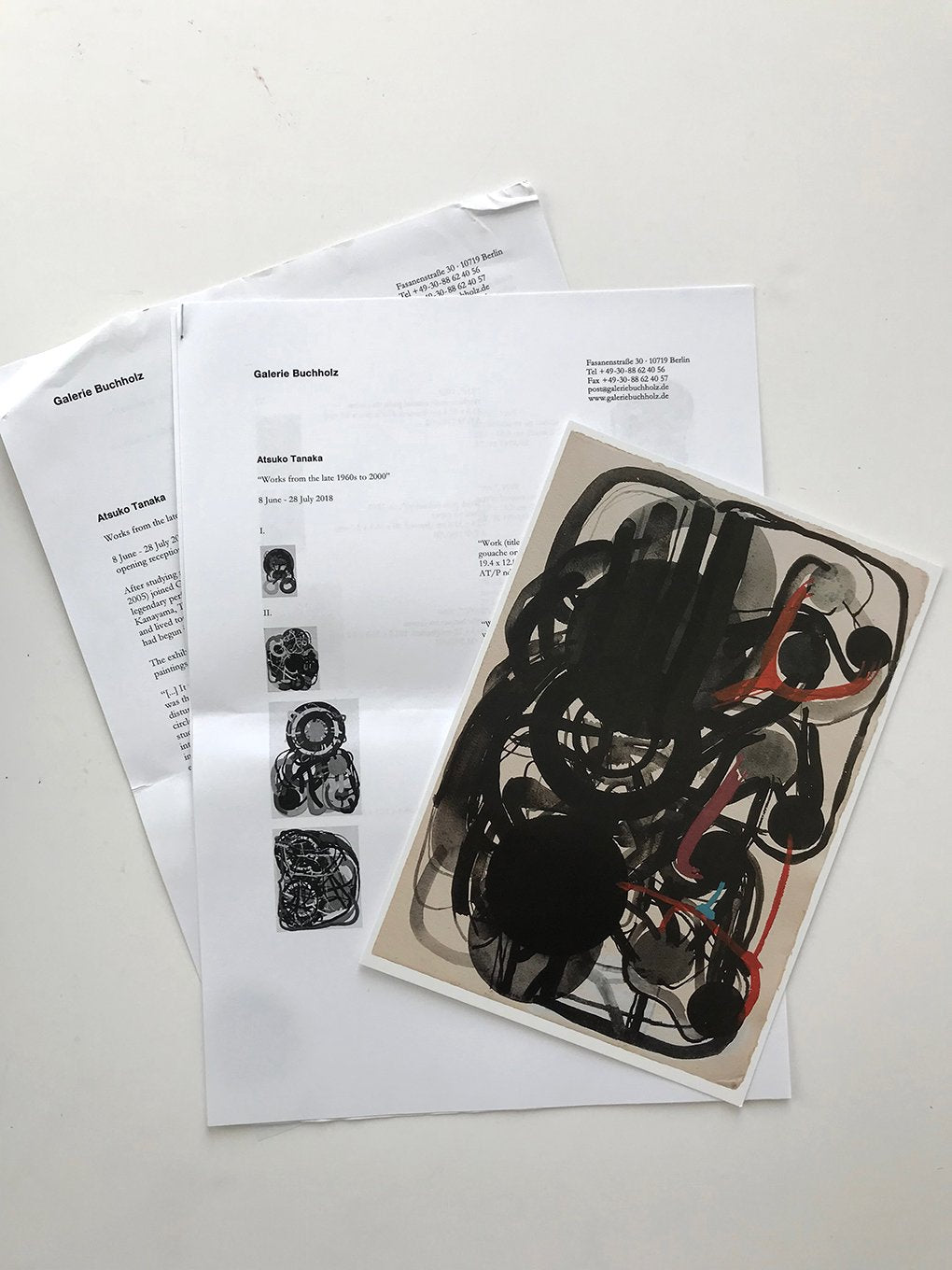 Atsuko Tanaka at Galeri Buchholtz, Berlin - Invitation card, press release and list of works from