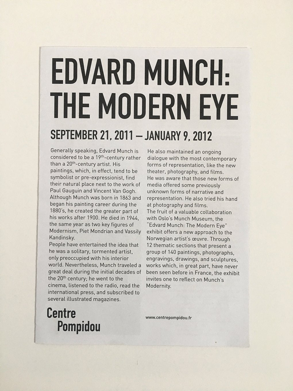 Edvard Munch: 'The Modern Eye' at the Pompidou Centre, Paris - Exhibition guide