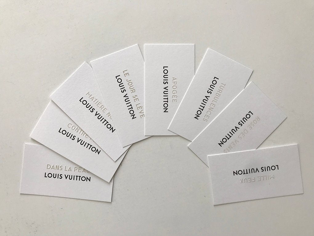 8 Perfume cards from Louis Vuitton shop in Venice