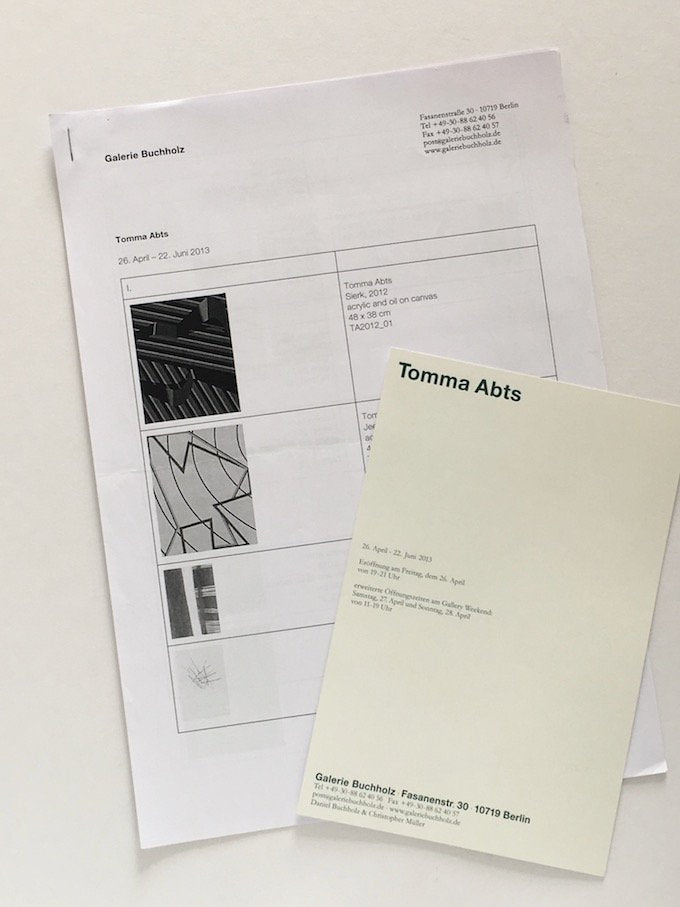 Tomma Abts exhibition at Galerie Buchholz, Berlin 2013 - checklist and invitation card from