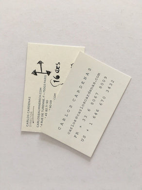 Carlos Cardenas before and after Almine Rech - business cards