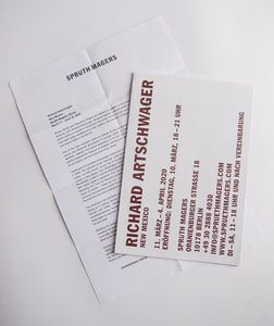 Richard Artschwager - Poster and press release from New Mexico at Sprueth Magers Berlin 2020