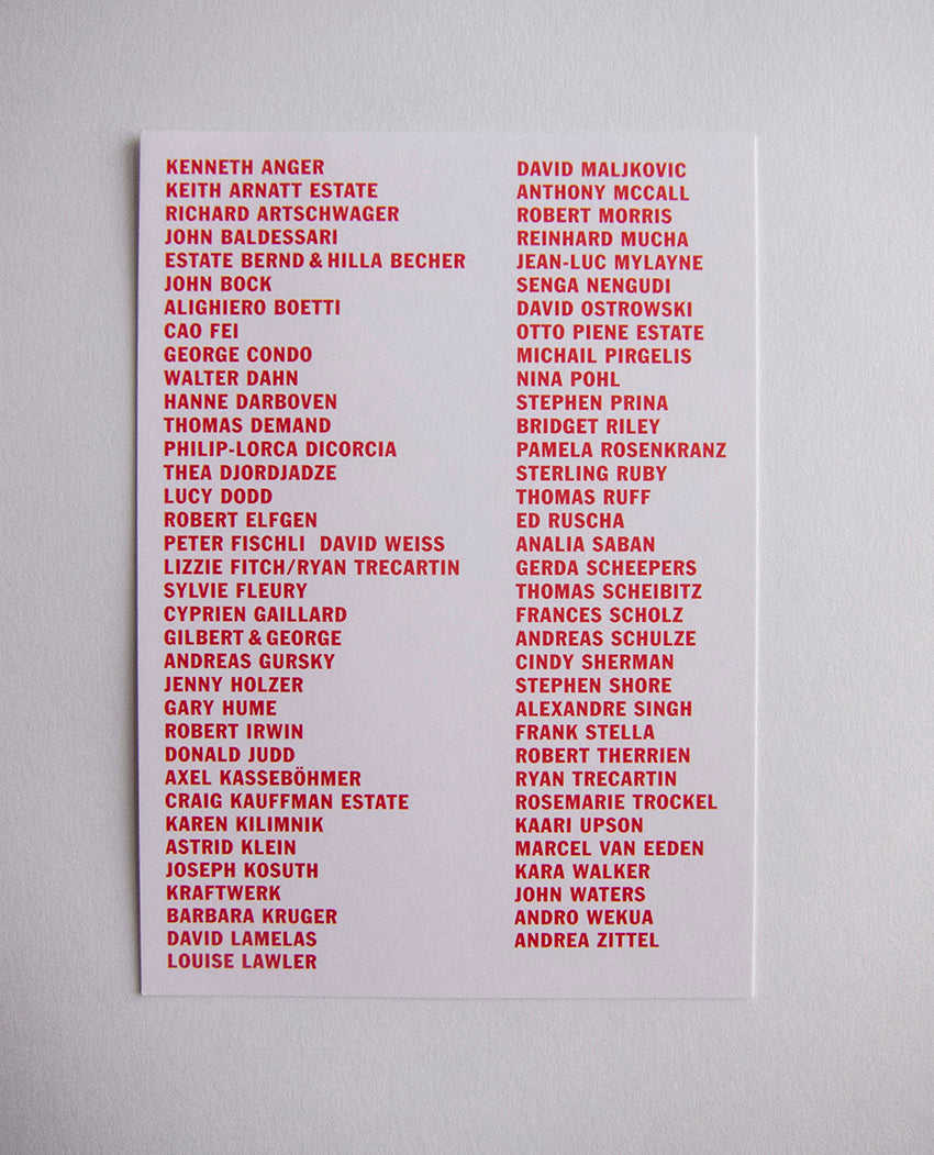 Sprüth Magers Gallery card with list of artists
