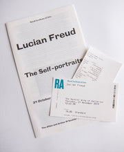 Load image into Gallery viewer, Lucian Freud - Exhibition catalogue. entry ticket and receipt from 'The Self-Portraits' at the Royal Academy, London 2019