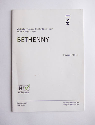Lise Soskolne - Catalogue from exhibition 'Bethenny', 2015, at Diorama, Oslo