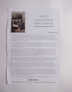 Peggy Guggenheim and London at Ordovas Gallery London - Press release