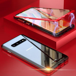 (50% OFF)2019 New Fashion Magnetic Adsorption Transparent Glass Cover Phone Case-FOR SAMSUNG
