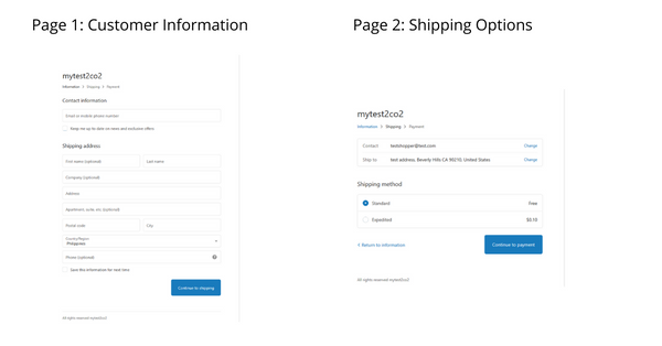 2checkout checkout pages 1 & 2