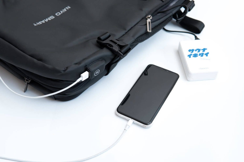 Nayo EXP backpack review charging port