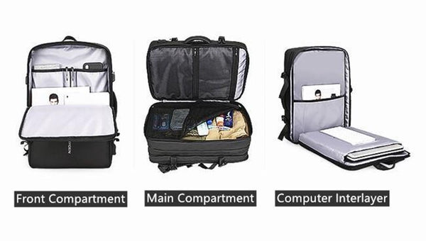 Nayo EXP business travel backpack compartments
