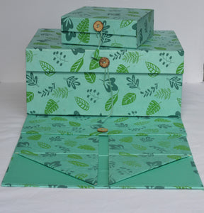 Box Collapsible- Leaf Screen Print (Set of 6 boxes)
