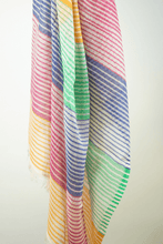 Load image into Gallery viewer, multi coloured cotton candy striped scarf