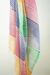multi coloured cotton candy striped scarf