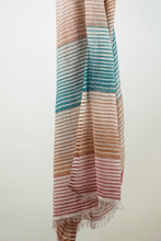Load image into Gallery viewer, multi coloured caramel cotton striped scarf