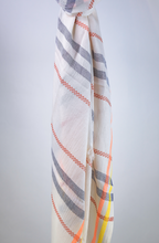 Load image into Gallery viewer, Cotton handloomed summer scarf navy terracotta