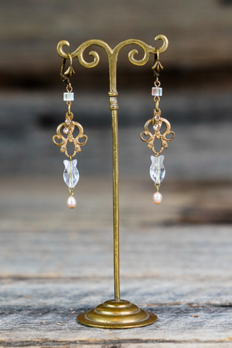 Pisces Pearl Crystal Earrings