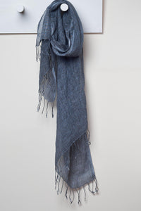 3 Visits To Cairo pure linen scarf in Graphite