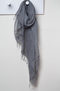 3 Visits To Cairo pure linen scarf in Charcoal