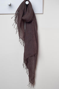 3 Visits To Cairo pure linen scarf in Cocoa