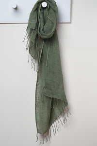 3 Visits To Cairo pure linen scarf in Hunter Green